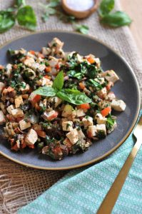A healthy and easy tofu scramble inspired by Mediterranean flavors. Make it for breakfast, lunch, or dinner.