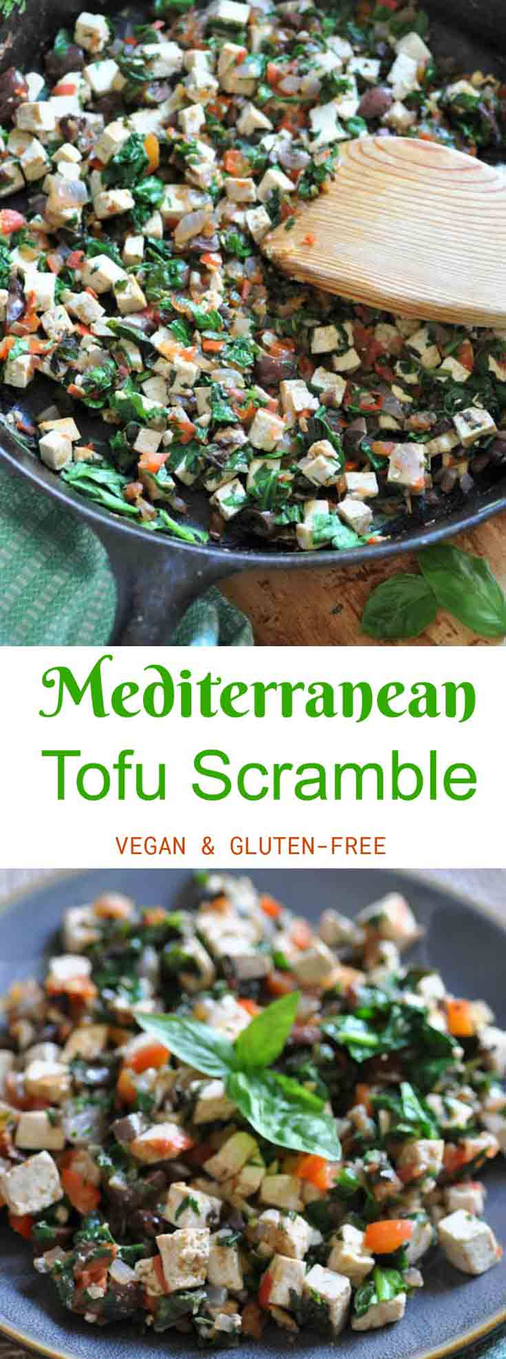 Vegan and Gluten-Free Mediterranean Tofu Scramble! A healthy and easy breakfast, lunch, or dinner!
