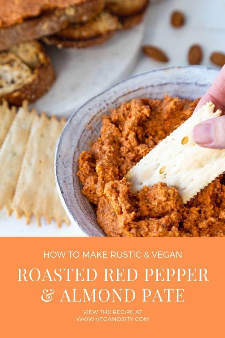 Alnond & Red Pepper Pate a savory vegan dip. #vegan #appetizer #dip