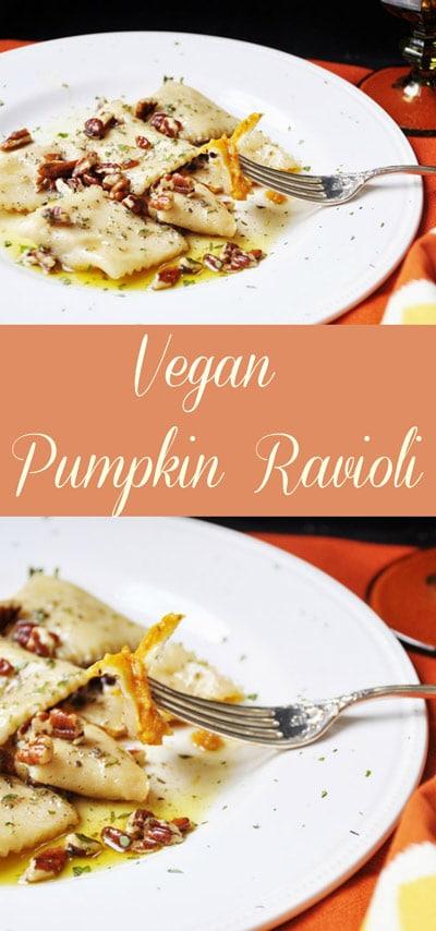 Vegan Pumpkin Ravioli! This vegan pumpkin ravioli recipe is made with real pumpkin and savory spices. It's one of my family's favorites! www.veganosity.com