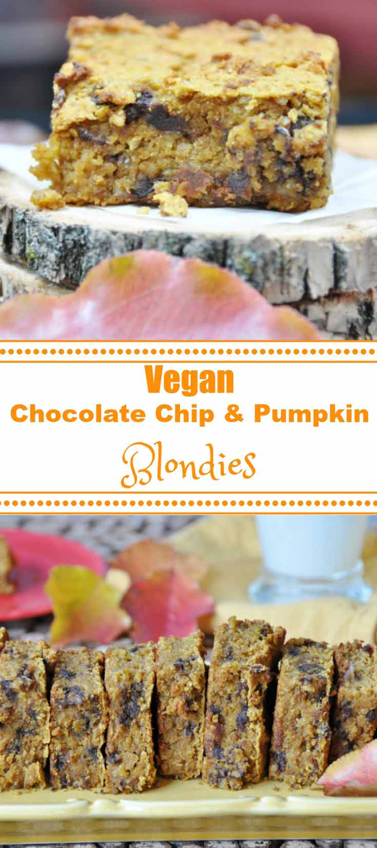 Delicious pumpkin and chocolate chip blondies made with chickpeas! www.veganosity.com