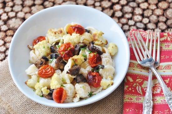 Creamy Orecchiette with Roasted Cauliflower, Tomatoes, and Mushroom Bacon