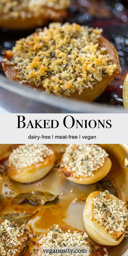 A Pinterest pin for baked onions stuffed with a fennel breadcrumb with 2 pictures of the onions.
