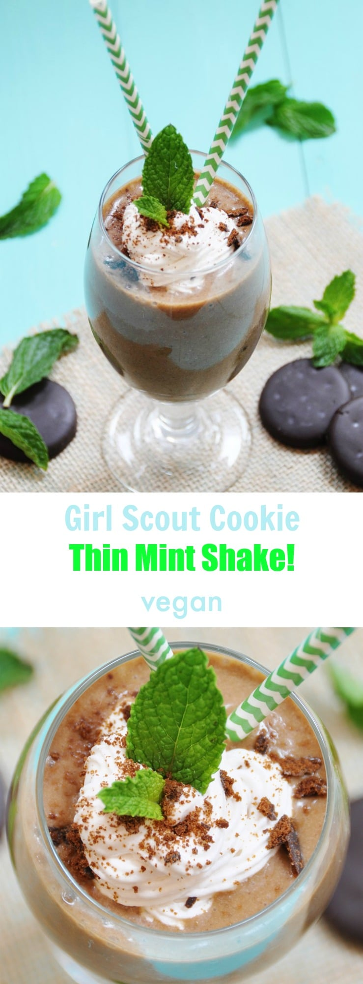 Vegan Girl Scout cookie shake made with thin mint cookies! The perfect dairy-free milkshake dessert!