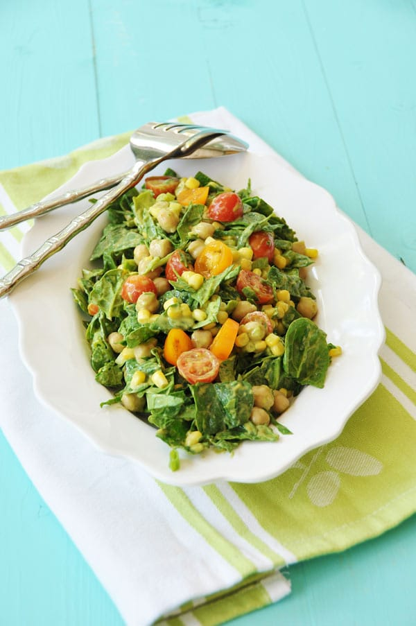 Summer Spinach Salad with Avocado Dressing