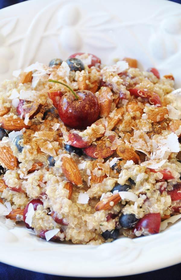 Quinoa Cherry Berry Breakfast Bowl
