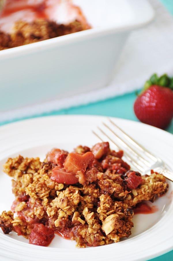 Vegan-Gluten Free Strawberry Rhubarb Crumble