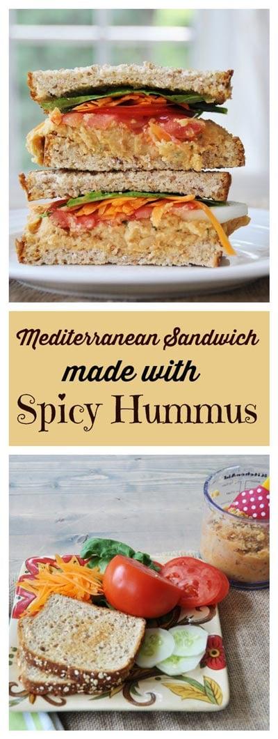 Mediterranean Sandwich with Spicy Hummus