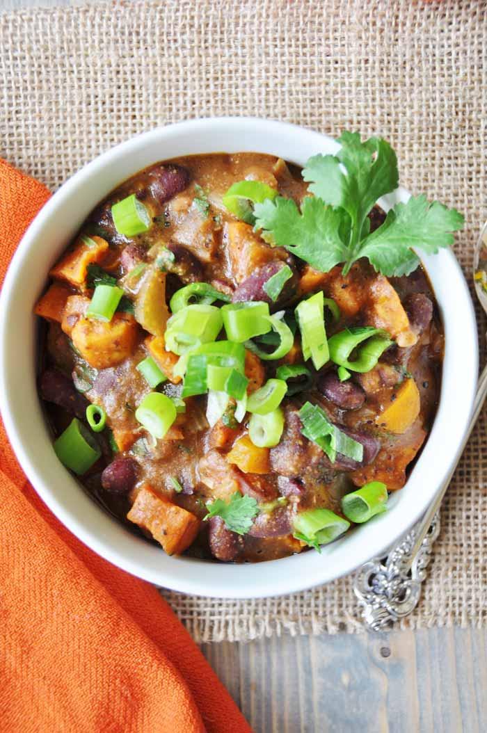 Roasted Sweet Potato Chili - Vegan and Gluten-Free