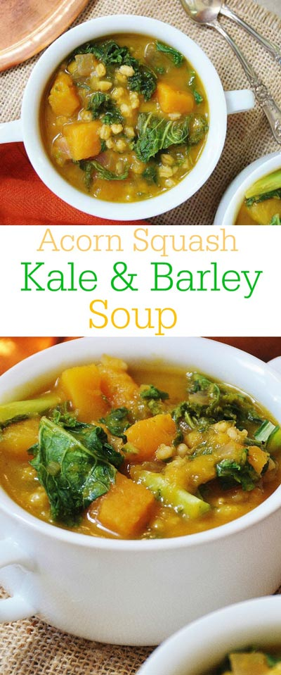 Acorn Squash, Kale, & Barley Soup! This soup recipe is so cozy and flavorful. It's like putting fall in a soup pot. www.veganosity.com