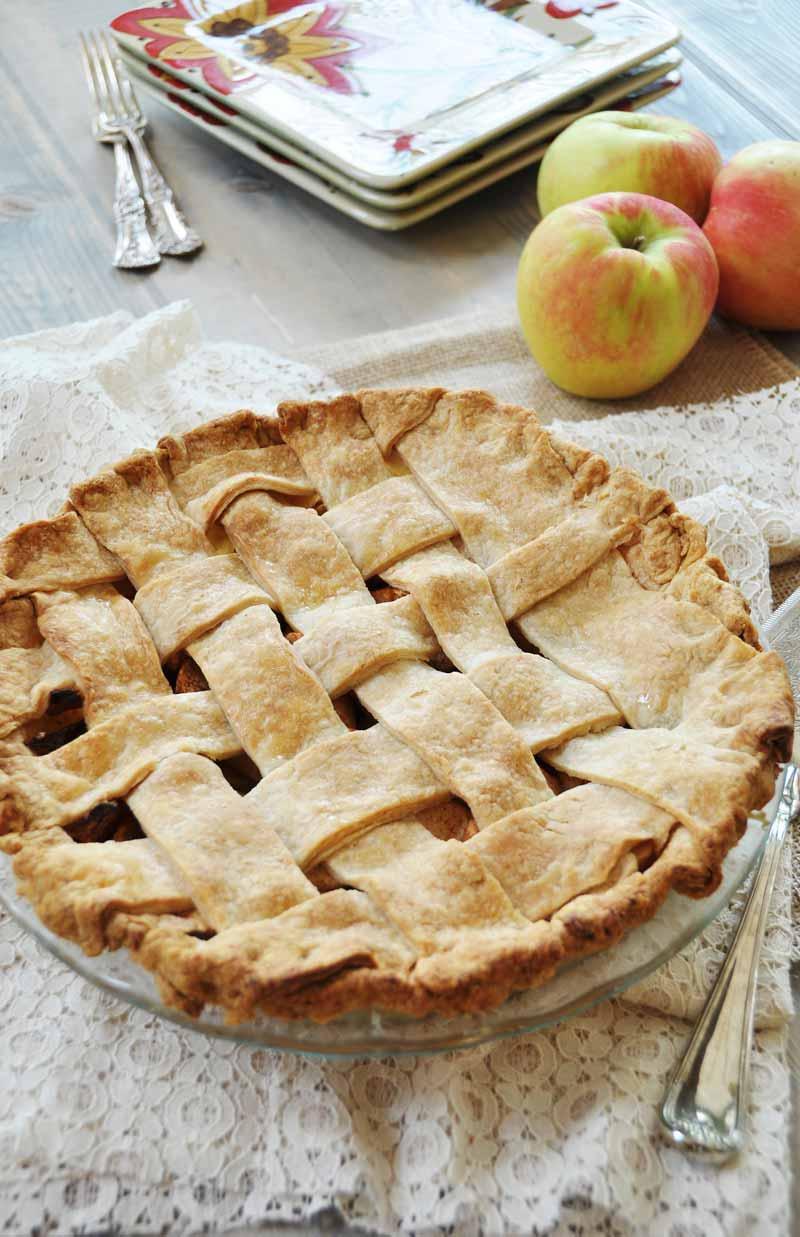 Homemade Apple Cinnamon Pie with the Flakiest Vegan Pie Crust