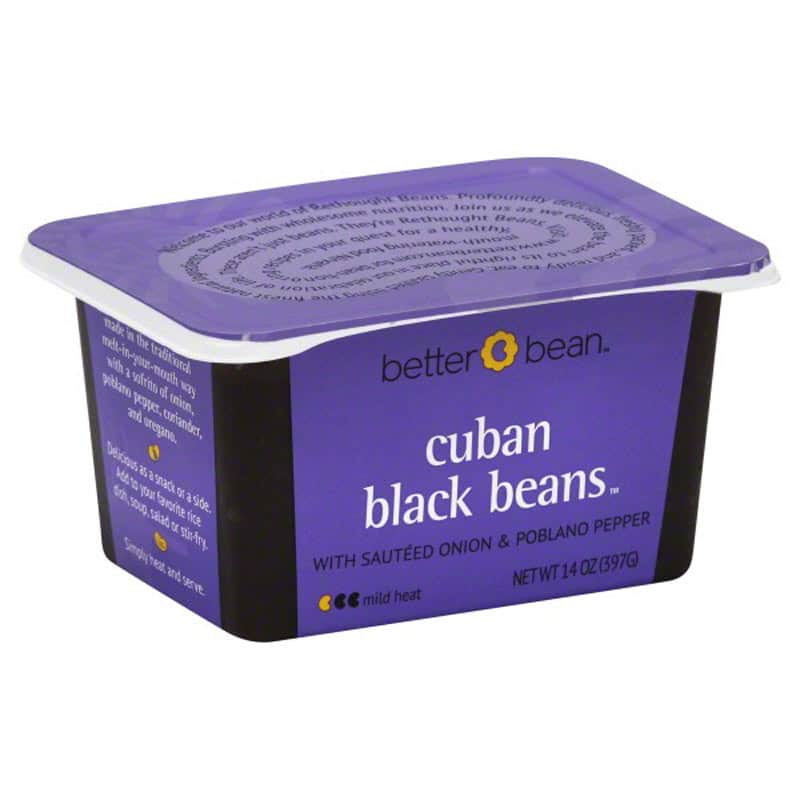 A purple container of Better Bean Cuban Black Beans