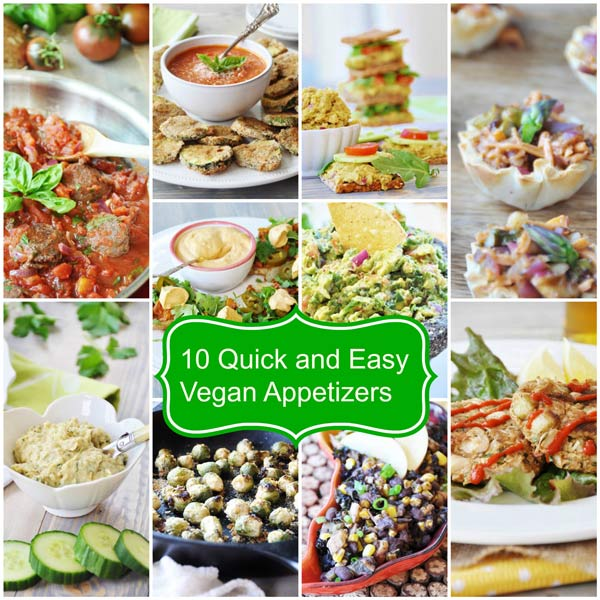 10 Quick and Easy Vegan Appetizers. All of these recipes are healthy and are perfect for your next party. www.veganosity.com