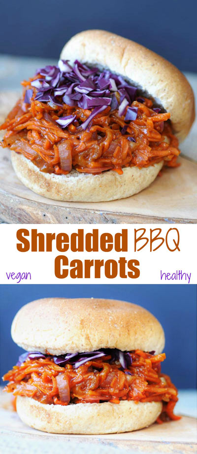 Pinterest Pin with Pulled BBQ-Carrots with Homemade BBQ Sauce