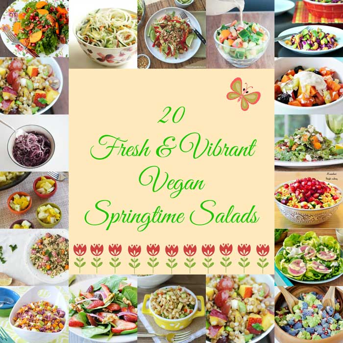 20 Fresh and Vibrant Vegan Springtime Salads! Plus two extra recipes for good measure. All colorful, delicious, and from your favorite vegan food bloggers. www.veganosity.com