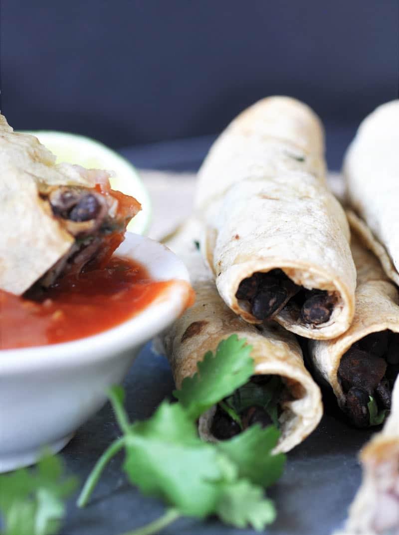 Homemade-Black-Bean-&-Spinach-Taquitos-