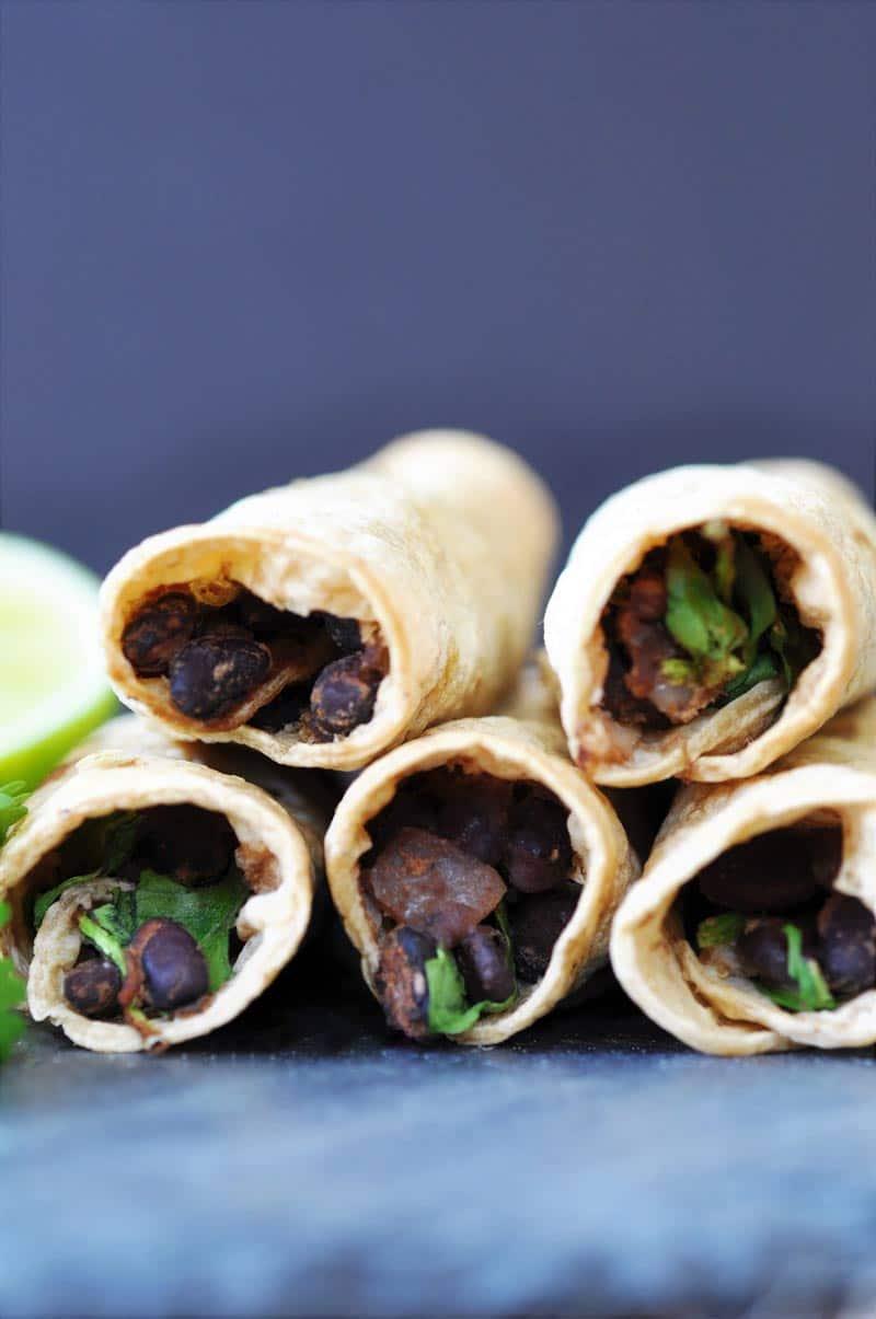 Homemade-Black-Bean-&-Spinach-Taquitos