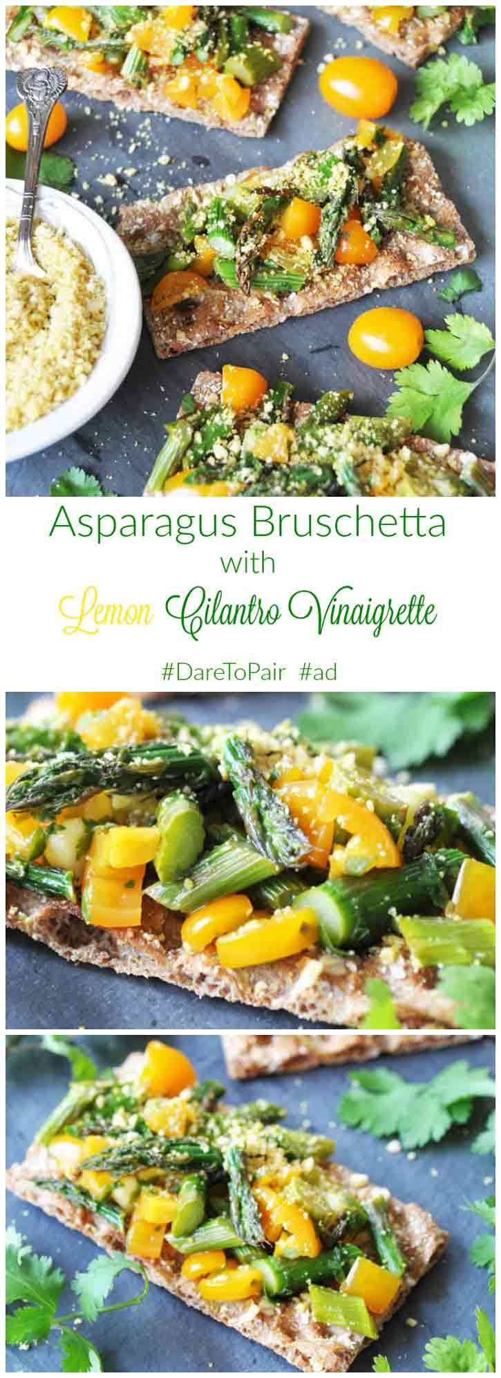 Asparagus Bruschetta with Lemon Cilantro Vinaigrette! Only 6 ingredients in this bright, beautiful, and delicious recipe. Perfect for your next get together or for a light meal. www.veganosity.com