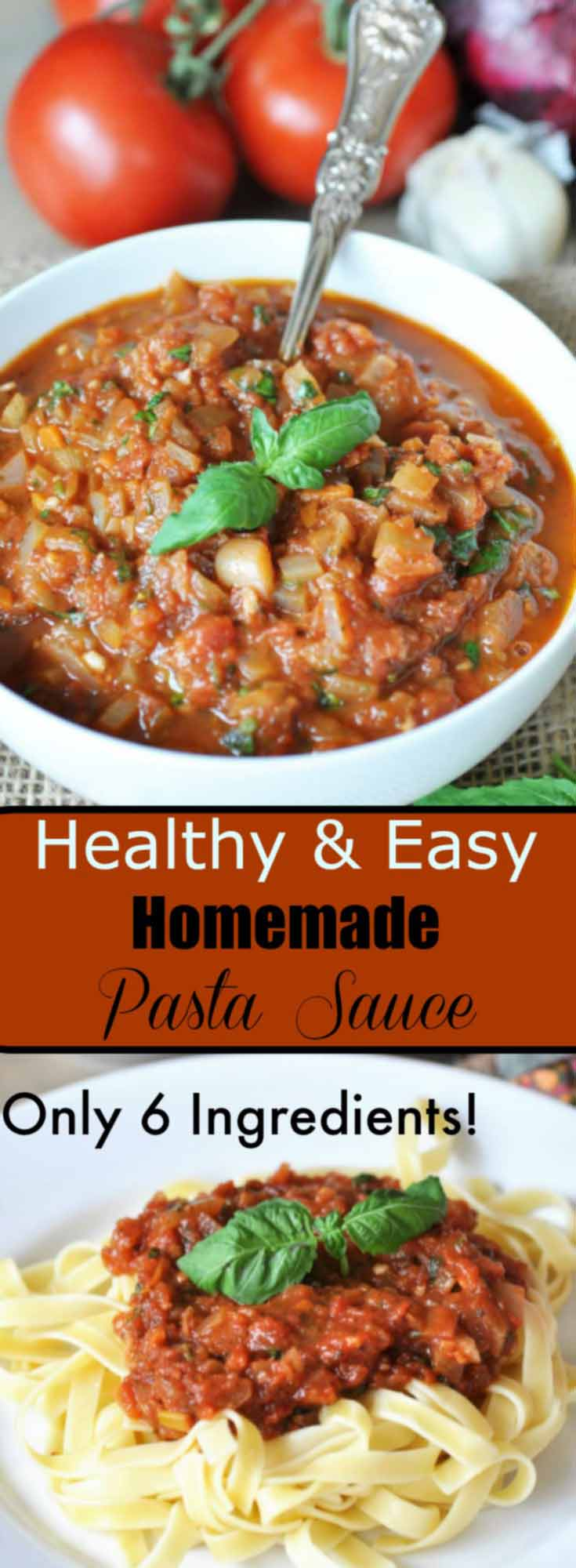 Healthy & Easy Homemade Pasta Sauce! This recipe is a family favorite and is ready in under 40 minutes! vegan and gluten-free. www.veganosity.com