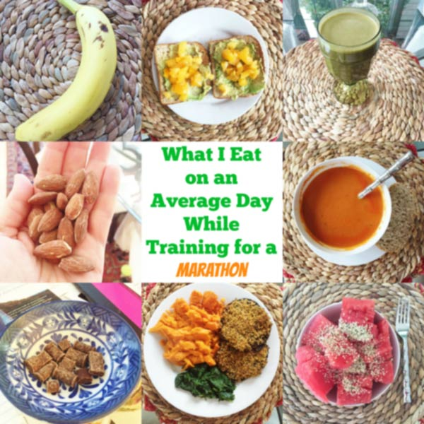 This is a sample of what I eat on an average day while training for a marathon! All the protein and nutrients you could ask for from a vegan diet. Just look at the colors! www.veganosity.com