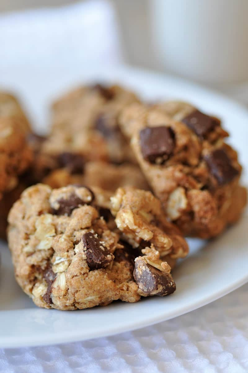 This vegan chocolate chunk oatmeal cookie recipe is lower in sugar and uses coconut oil in place of vegan butter. A must try! www.veganosity.com