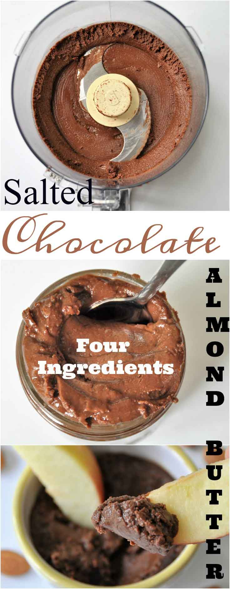 Homemade Salted Chocolate Roasted Almond Butter! Only four ingredients in this easy and delicious recipe! www.veganosity.com