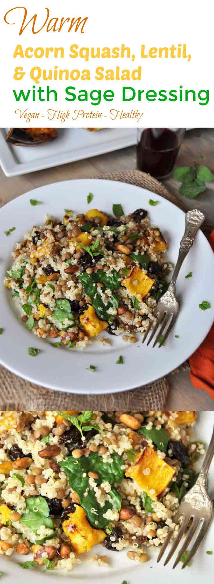 This warm salad with roasted acorn squash, lentils, quinoa, and sage dressing is perfect for fall! www.veganosity.com