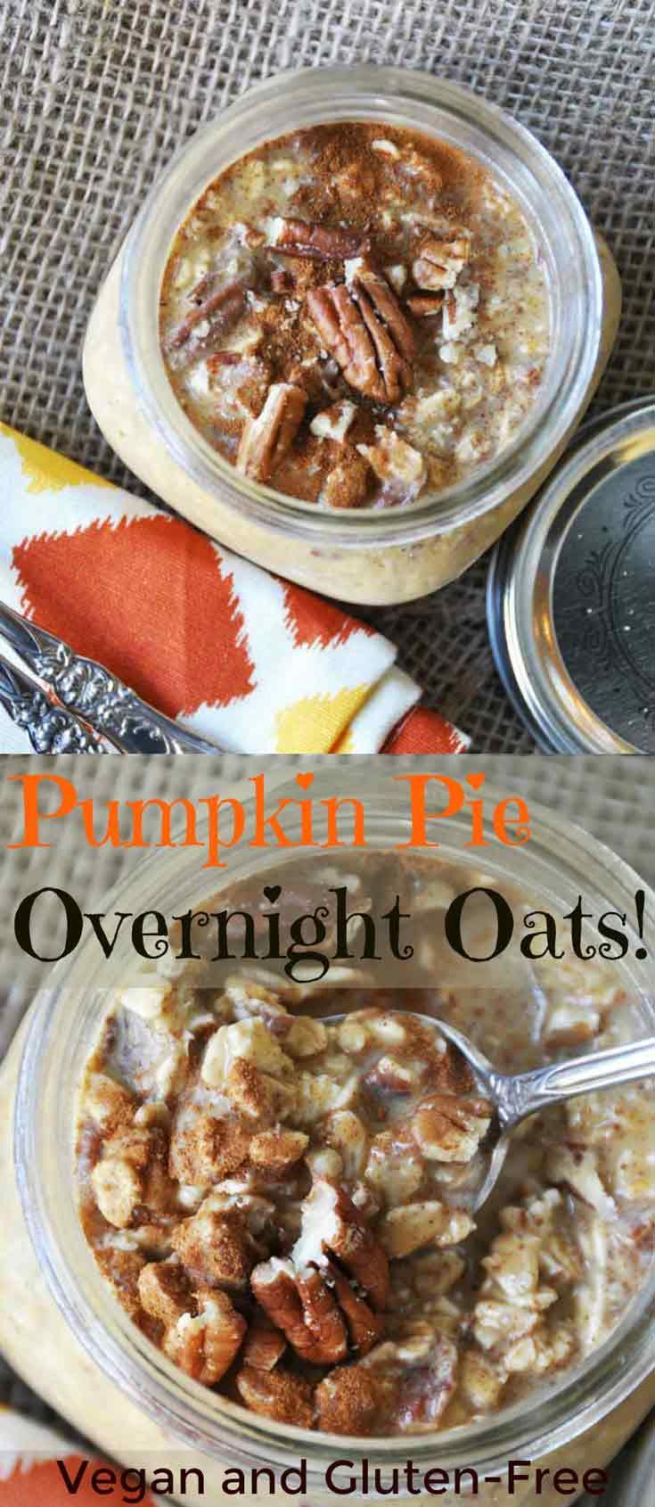 Easy, vegan, gluten-free pumpkin pie overnight oats! It's like having dessert for breakfast! www.veganosity.com