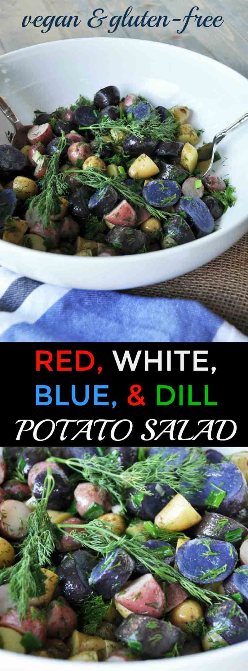 A pretty, festive, and delicious tri-colored potato salad with dill dressing recipe! Perfect for tailgating, holidays, or the election! www.veganosity.com