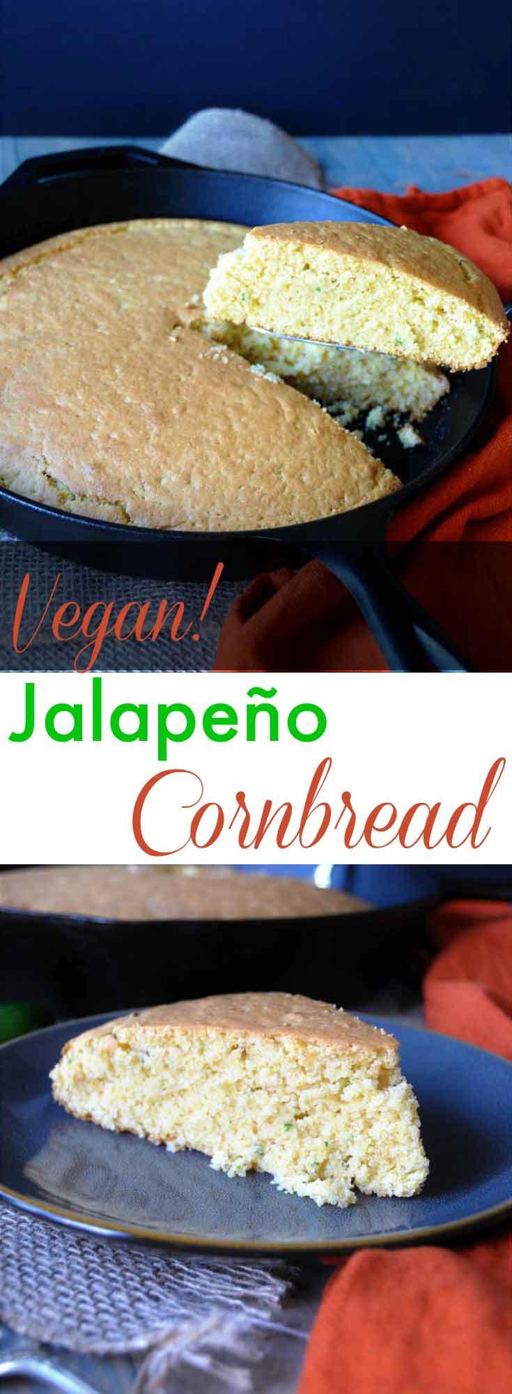 Spicy dairy-free, egg-free, and vegan jalapeño cornbread! So moist and delicious! www.veganosity.com