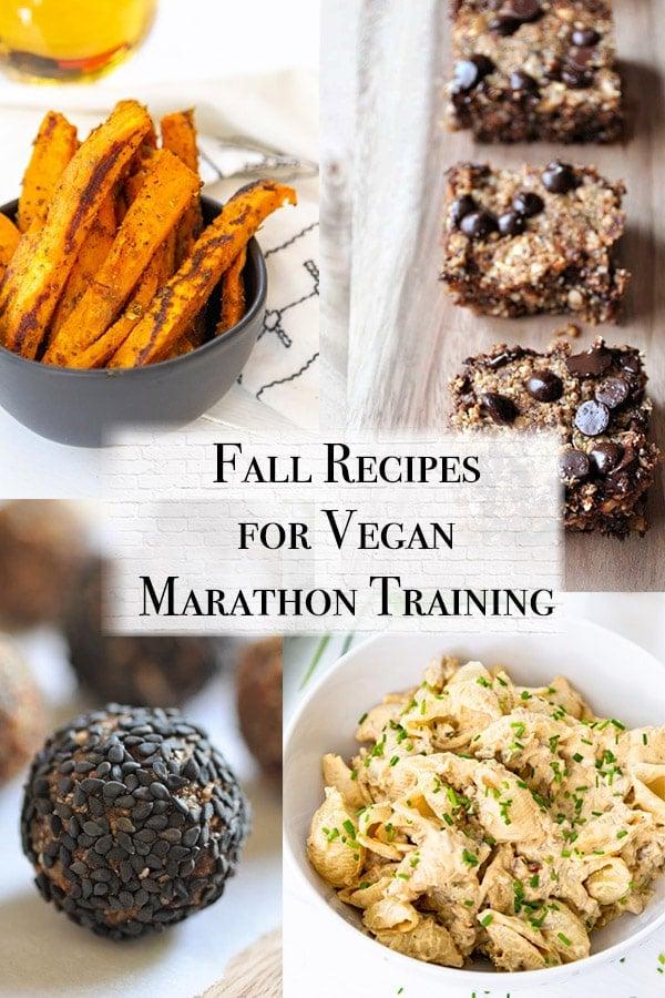 fall vegan marathon training meal plan with vegan buffalo chick'n mac n cheese, raw apple energy bites, protein bars, and cajun sweet potato fries