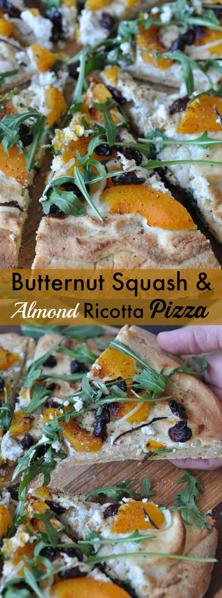 Butternut squash and vegan almond ricotta pizza! A delicious whole food plant-based healthier fall and winter vegetable pizza.