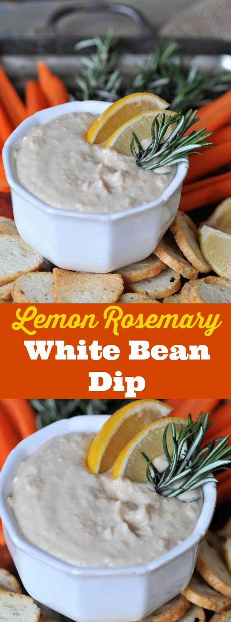 Tangy and bright lemon with savory rosemary and creamy white beans. The perfect vegan appetizer dip!