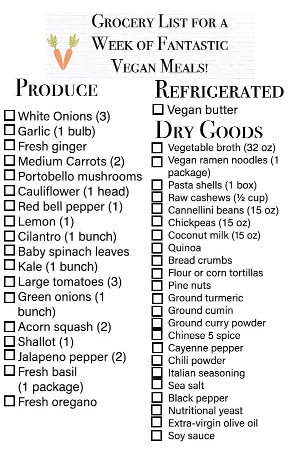 vegan weekly meal plan grocery list with checklist