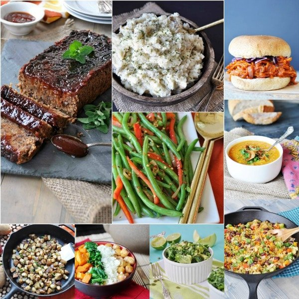 A healthy vegan weekly meal plan with a shopping list! Vegan meatloaf, green beans, mashed potatoes, soup, and salads