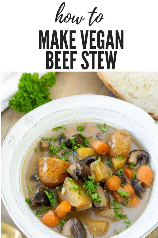 A simple and easy way to make vegan beef stew! #veganbeefstew #veganstew