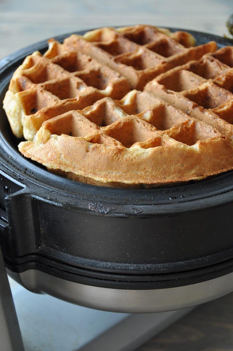 Dairy-free, egg-free, vegan walnut banana bread waffles! The perfect weekend breakfast!