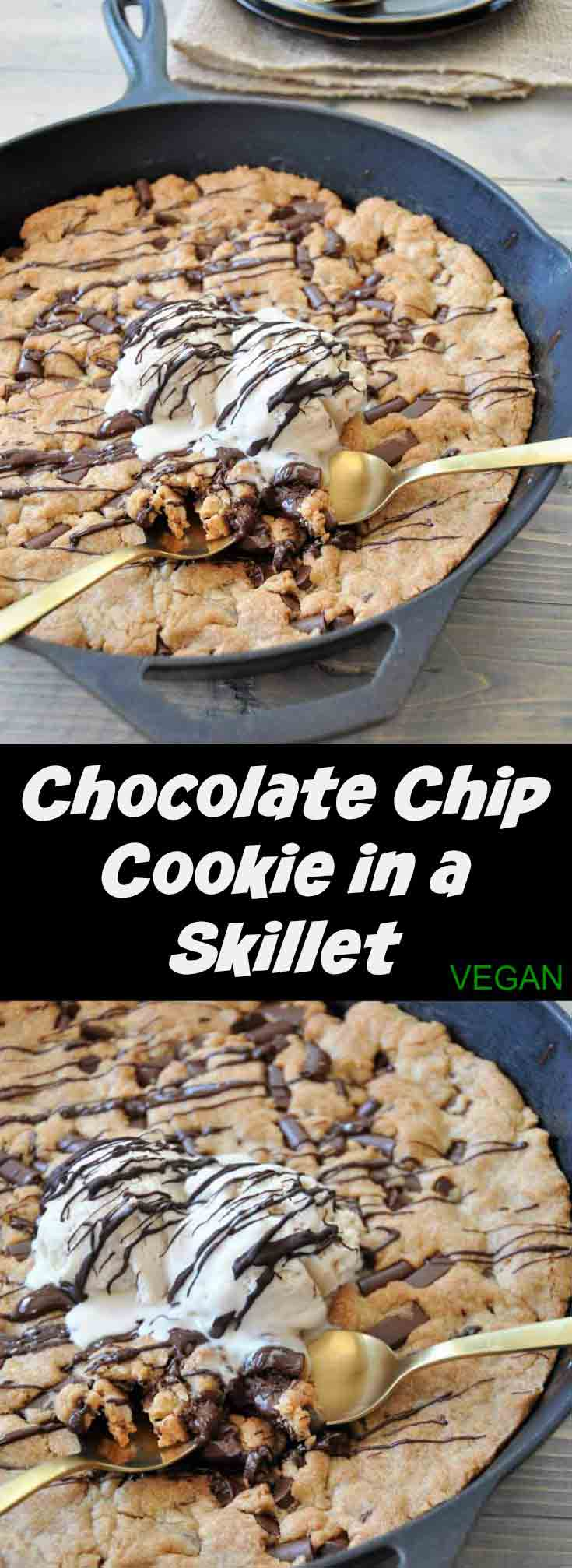 One big vegan chocolate chip cookie in an iron skillet! The perfect dessert for a party. Dairy and egg-free.