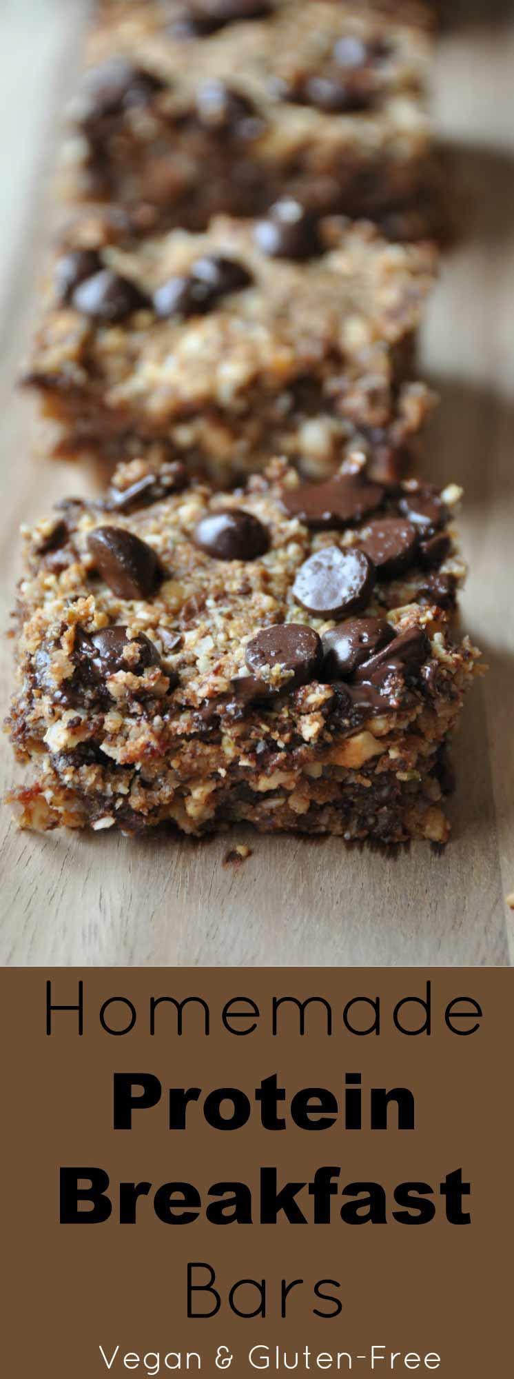 Homemade Protein Energy Breakfast Bars! Full of plant-based vegan protein. Gluten-Free!