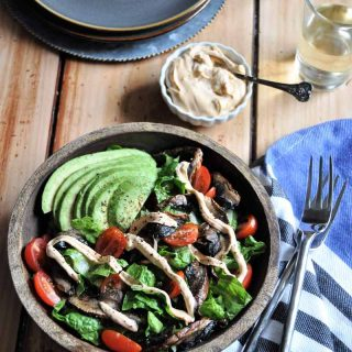 Mushroom BLT with homemade spicy vegan mayo. So easy to make for lunch or dinner.