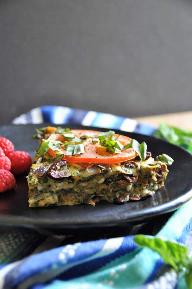 Delicious vegan veggie and herb frittata! Made with Vegan Egg and Daiya Cheese.