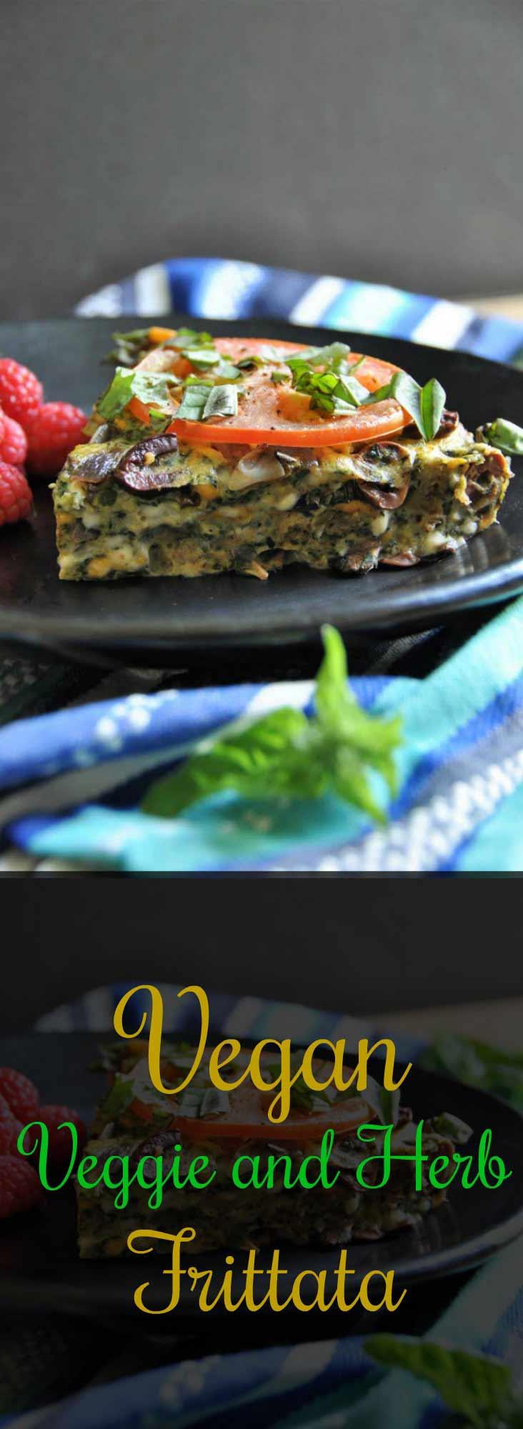 Vegan vegetable and herb frittata for breakfast, lunch, or dinner!