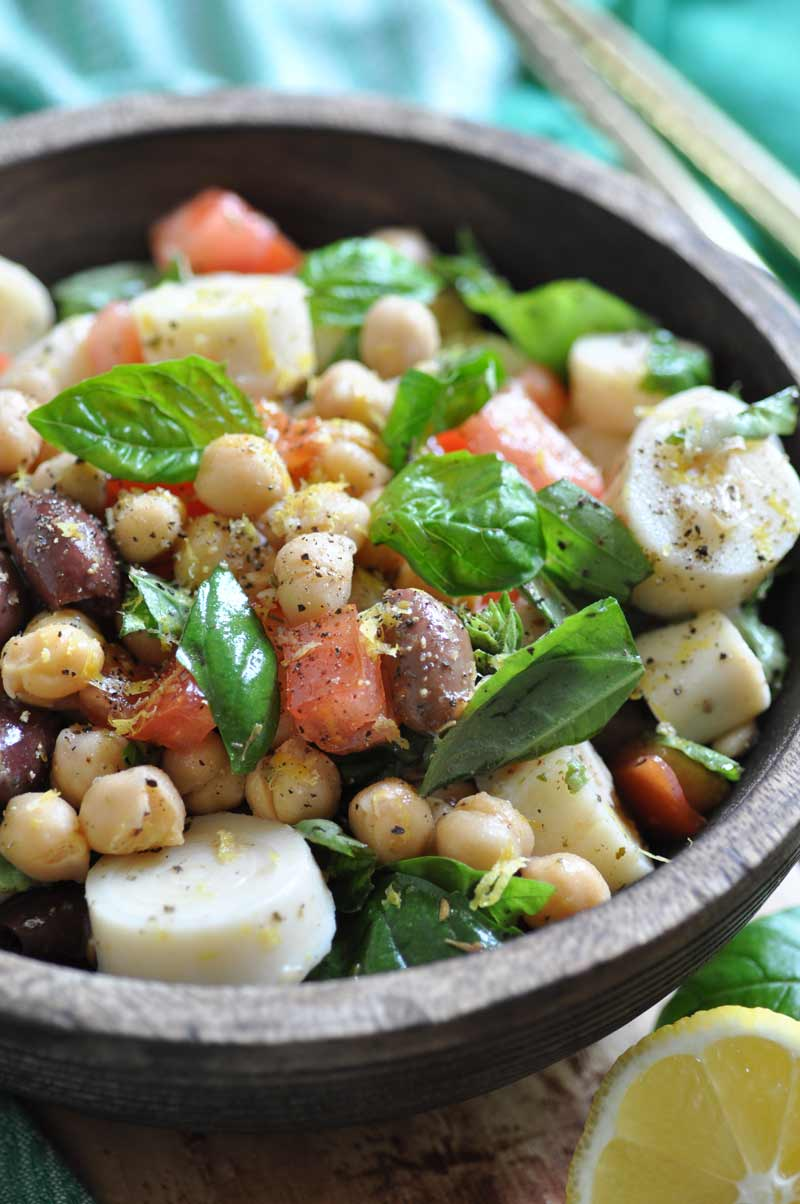 The easiest and freshest chickpea salad with an easy lemon dressing. The perfect summer dinner!