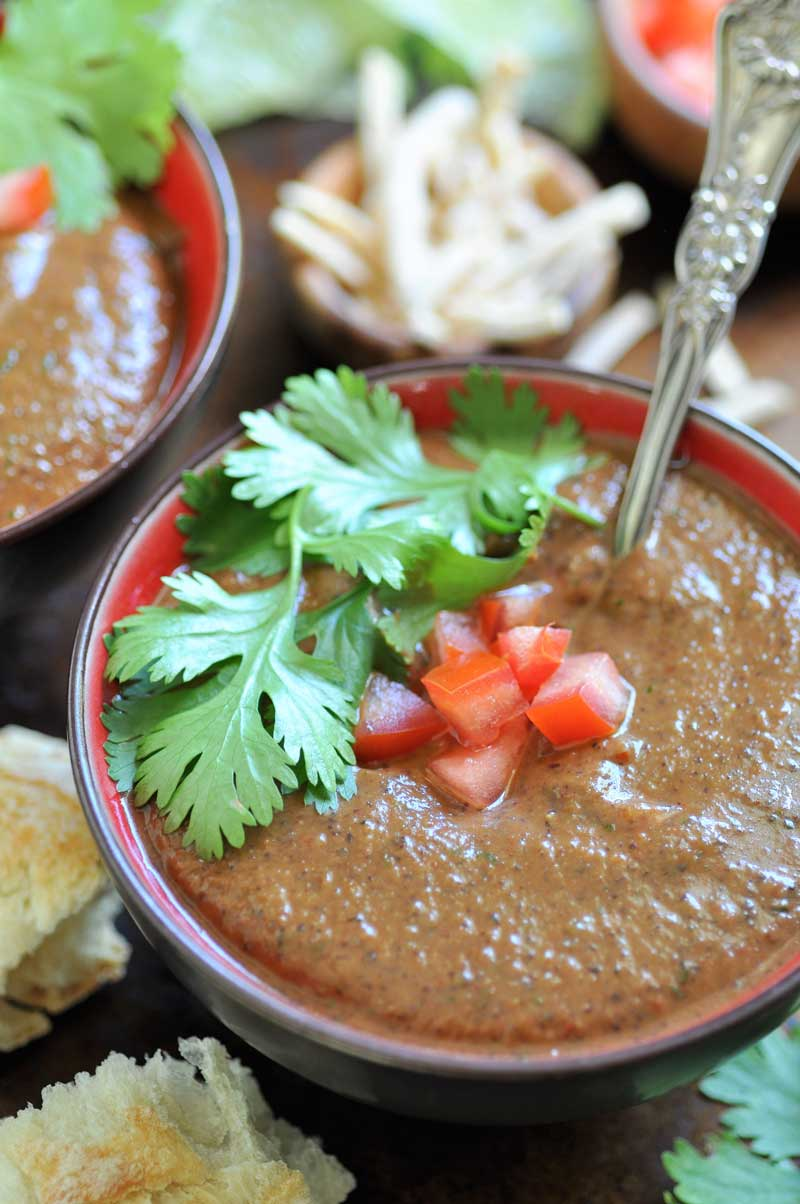 Spicy Cuban black bean soup. It's easy, quick, and vegan!