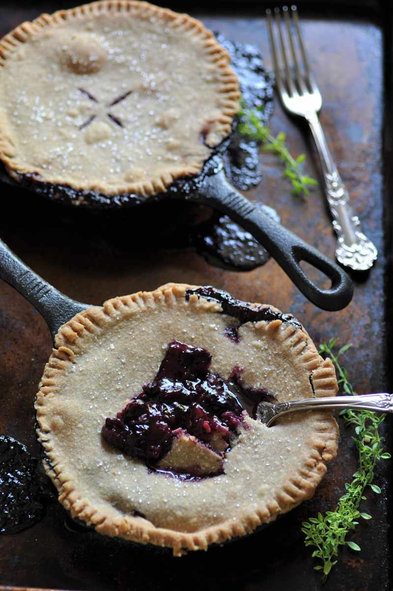 Blueberry Thyme Skillet Pie! Made in an iron skillet for a delicious and rustic dessert.