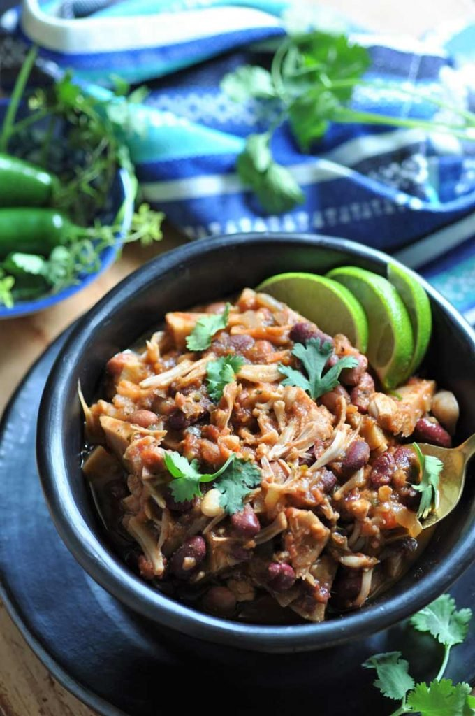 Jerk spices and shredded jackfruit take chili to another level! The perfect game-day food.