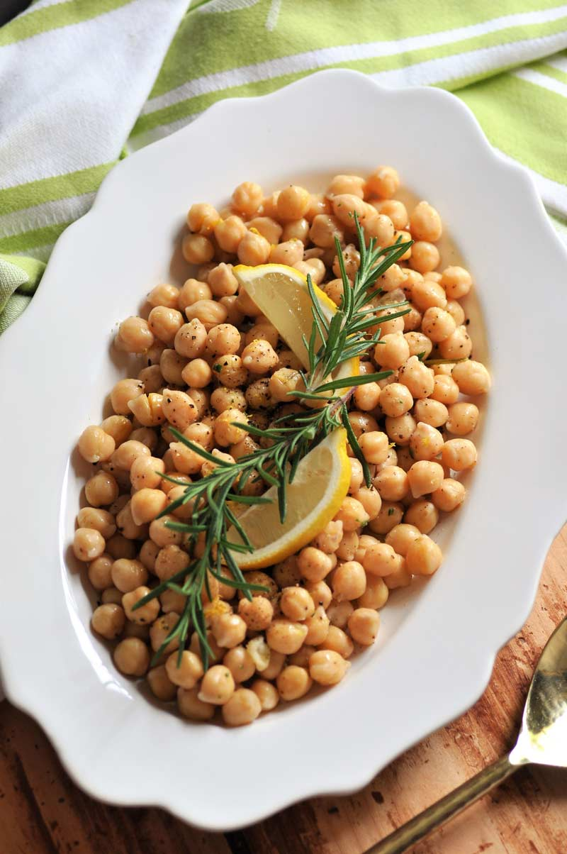 Rosemary infused olive oil and lemon are the key ingredients for this delicious chickpea recipe.