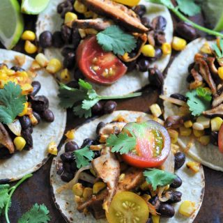 Street Tacos! Made with black beans, corn, & shitake mushrooms. A great appetizer or meal.