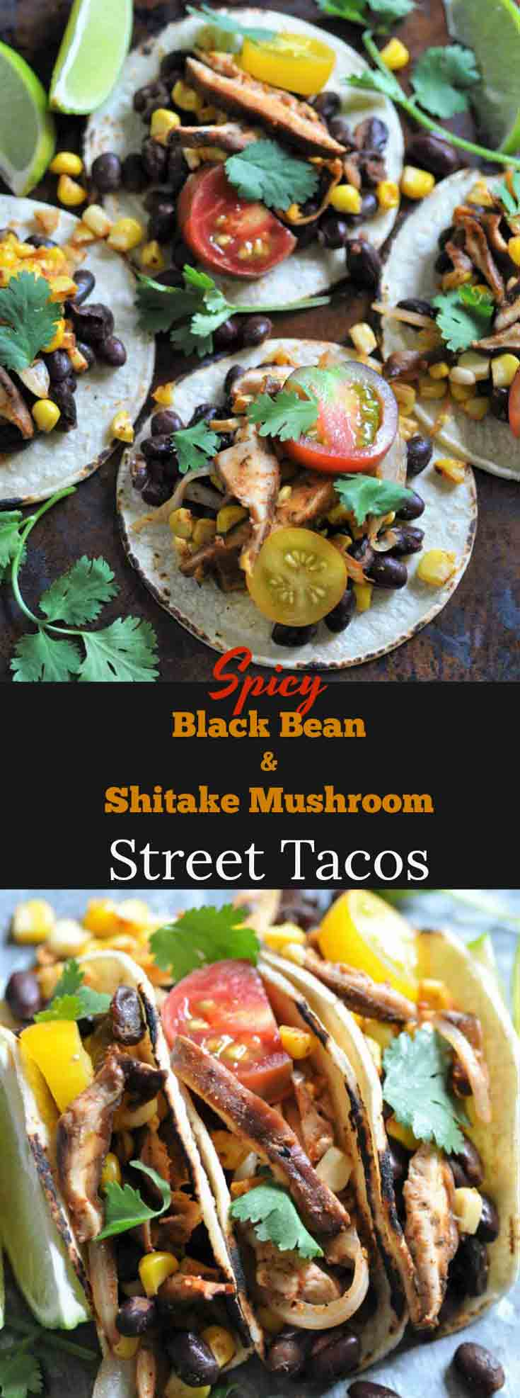 Black bean, corn, & shitake mushroom street tacos! The perfect appetizer or meal.