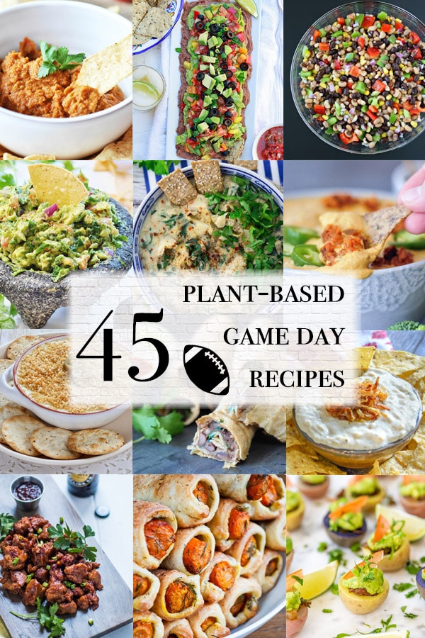 game day recipe roundup with tons of vegan meals